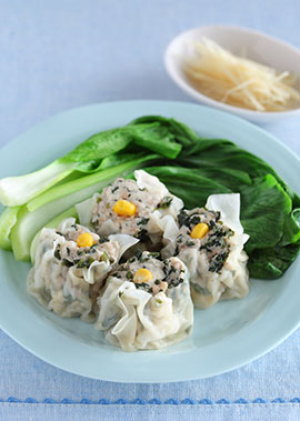 豆腐とモロヘイヤのヘルシーシュウマイ