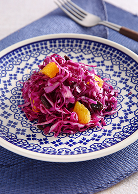 紫キャベツのオレンジドレッシングサラダ