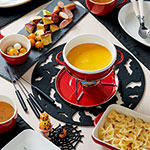 さつま芋とリボンパスタのかぼちゃチーズフォンデュ