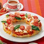 クアトロチーズ&生ハムのリースピザ